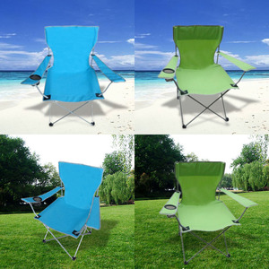 Image 1 - Outdoor Camping Fishing Chairs Oxford Cloth Folding Portable Arm Chair Patio Fish Camping set With Cup Holder Carry Bag Sandalye