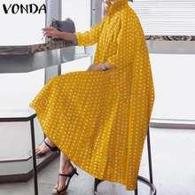 Polka dot impresso camisa vestido 2021 vonda escritório senhoras vestido de verão assimétrico vintage festa maxi vestido longo plus size