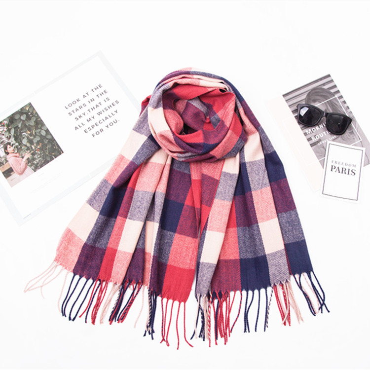 Scarf Autumn And Winter New Style Double-Sided Plaid Faux Cashmere Plaid Scarf Women's Scarf Extra-large Shawl MEN'S Scarf