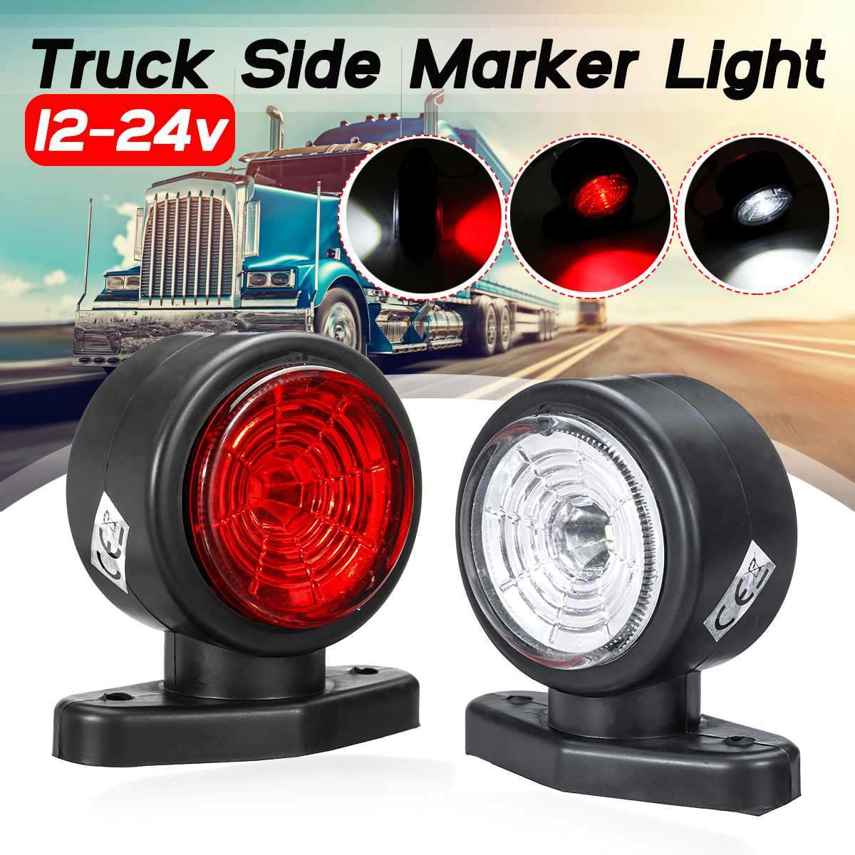 12 - 24v LED Universal Car Truck Side Marker Light Lights Indicator Signal Lamp Red White For Camper Trailer Lorry RV