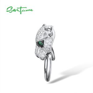 Image 3 - SANTUZZA Silver Pendant For Women Pure 925 Sterling Silver Shiny White Panther Green Black Spinel Delicate Party Fine Jewelry