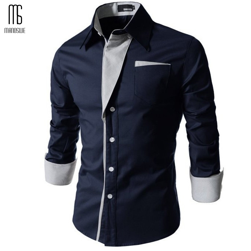 Manoswe Men Striped Colorblock Slim Shirt Spring New Hot Sale High Quality Solid Casual Long Sleeve Blouses Oversize 3XL