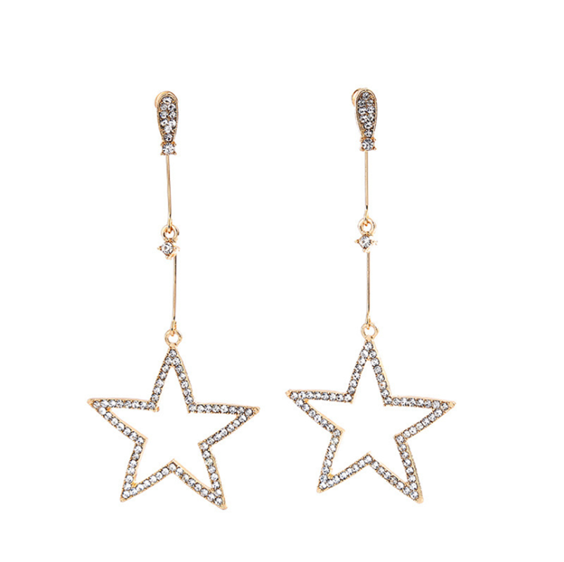 New Earings Fashion Jewelry Petal Acrylic Zircon Gold Stars Punk Earrings Circle Earrings For Women Brincos Wholesale