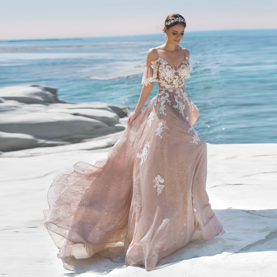 Spaghetti Straps Butterfly Sleeves Champagne Beach Wedding Dress with White  Lace Applique Backless Brwon Bridal Gowns