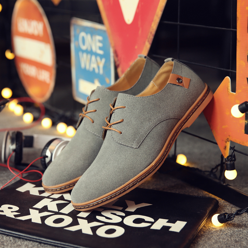 2019 Autumn Brand Men Suede Leather Men Shoes Oxford Casual Classic Sneakers For Men Comfortable Flats Footwear Big Size 38-46