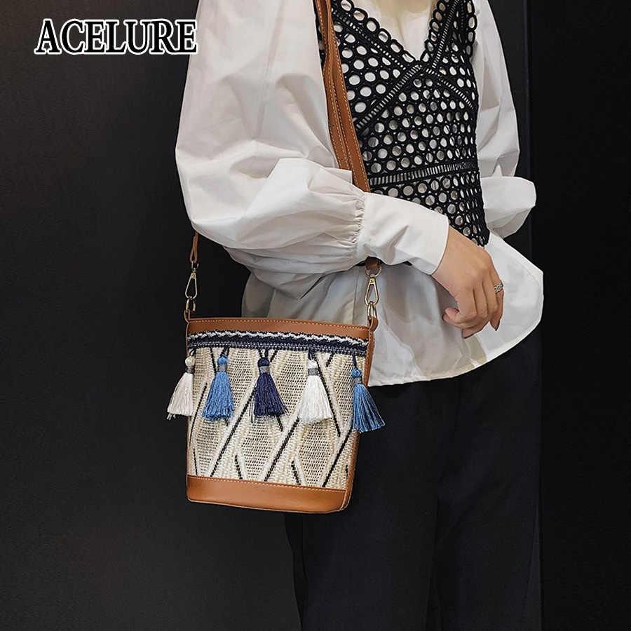 ACELURE موضة الصيف حقيبة شاطئية شرابة دلو القش حقيبة التطريز حقيبة كتف الإناث حمل حقائب للنساء حقائب بوهيميا