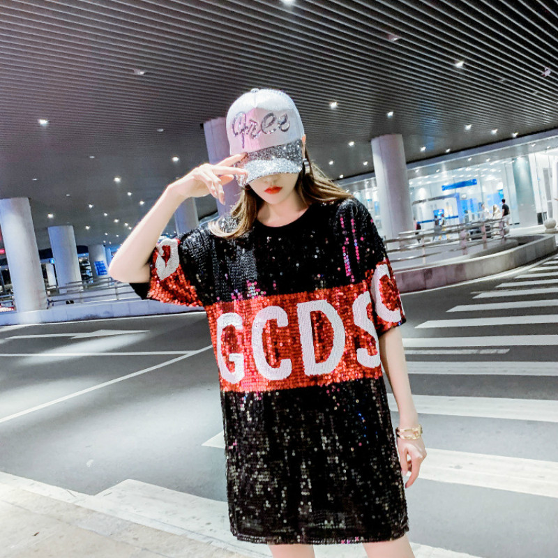 2020 New Korean Letters GCDS Loose T-shirt Women's Short Sleeved Bling Shiny Sequin Fashion Large Size Top Long Tops for Women 1