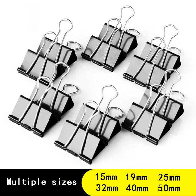 10PCS metal Paper Clip 19 25 32 41 51mm Foldback Metal Binder Clips Black Grip Clamps Paper Document Office School Stationery