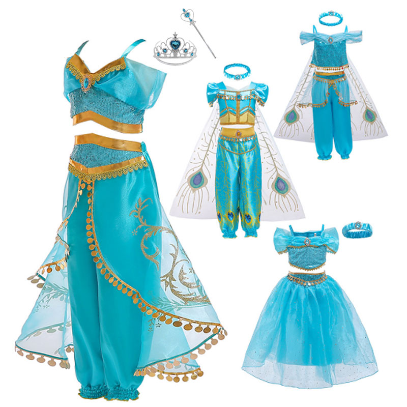 High Quality Kids Aladdin Princess Jasmine Costume Halloween Girl Belly Dance Fancy Dress Up Wig Party Costume Sets Children