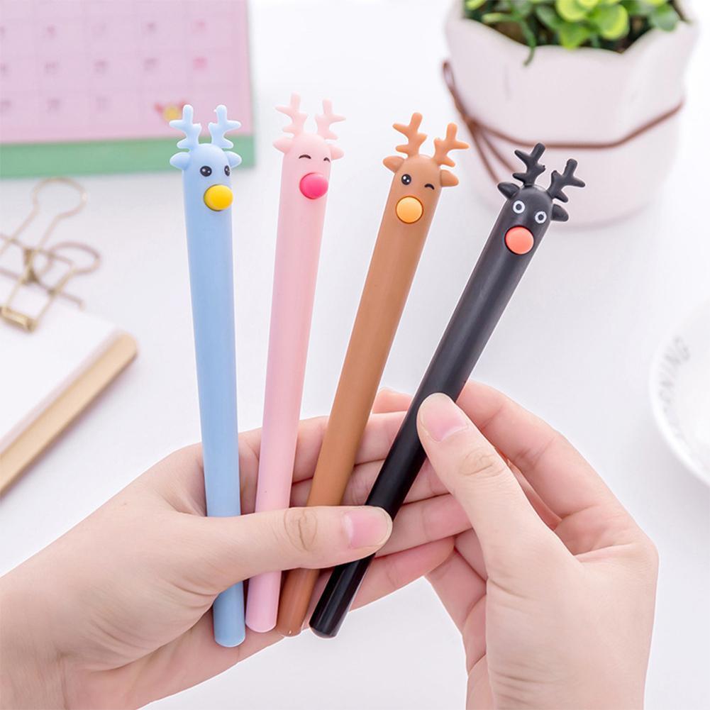 None Cute Cartoon Deer Christmas Moose Gel Pen Black 0.5mm Gel Pen