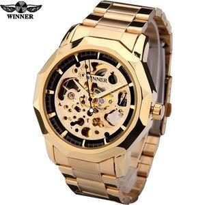 Image 5 - Kazanan marka saatler erkekler mekanik İskelet bilek saatler moda casual otomatik rüzgar İzle altın çelik kayış relogio masculino
