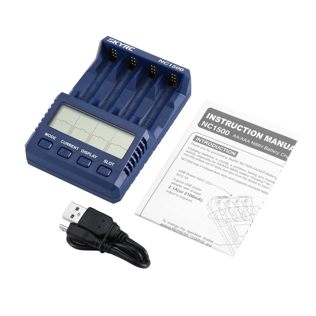 SKYRC NC1500 Battery Charger AA/AAA NiMH Battery Charger Analyzer Professional Batteries Charger Discharger 4 Battery Slots