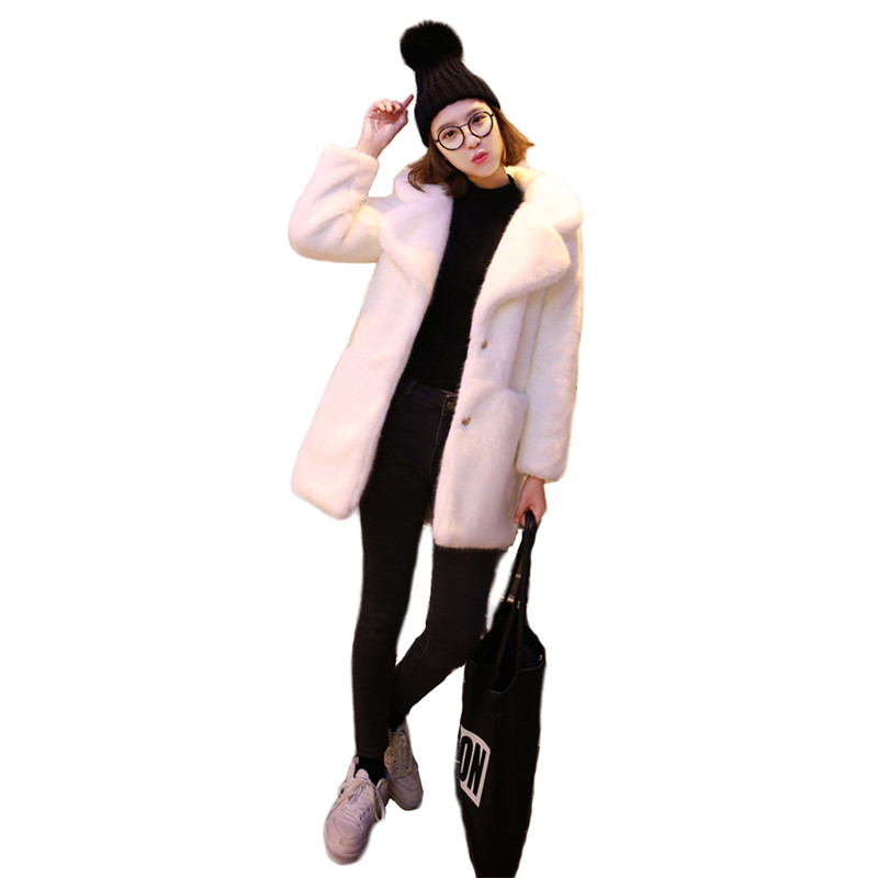 Faux Fur Coat Women White Plus Size Loose Fur Jacket 2020 New Autumn And Winter Office Pink Thick Warmth Clothing Feminina LD776