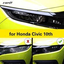 Cubierta protectora para faro delantero de coche, película protectora de TPU para Honda Civic 10, 2016, 2017, 2018, 2019, 2020, Negro transparente