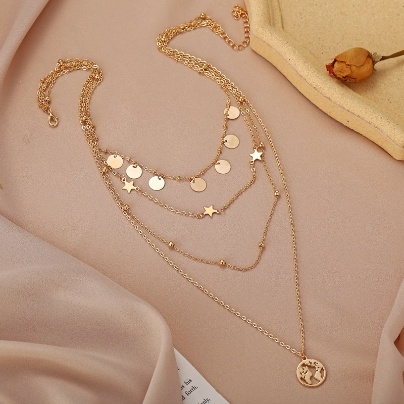 New Women Necklace Gold Disc Five-pointed Star Pendant Multi-layer Necklaces Alloy Clavicle Chain Evening Dress Party Gift