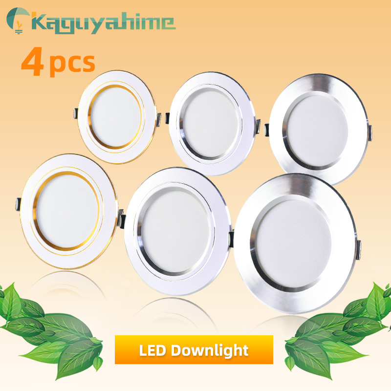4pcs LED Spotlight 3W 5W 9W 12W 15W 18W LED Lamp AC 220V 240V Silver White Ultra Thin Indoor Round Recessed LED Spot Lighting