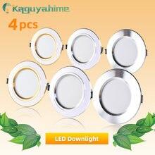 4 pçs led spotlight 3w 5 9 12 15 18 lâmpada led ac 220v 240v prata branco ultra fino interno redondo recesso conduziu a iluminação do ponto