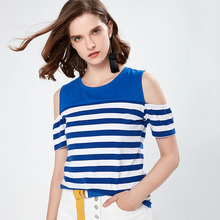 college style 2019 women surmmer Stripe Short Sleeve Shirt Womens Tops And Strapless short sleeve Sexy and elegant For lady tees