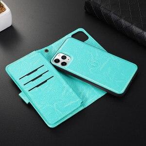Image 4 - Luxury Detachable Leather Wallet Phone Case for iPhone 12 Pro Max Cover Mini 11 SE 2020 Xr X Xs 8 7 Plus 6 6s Zipper Flip Bumper