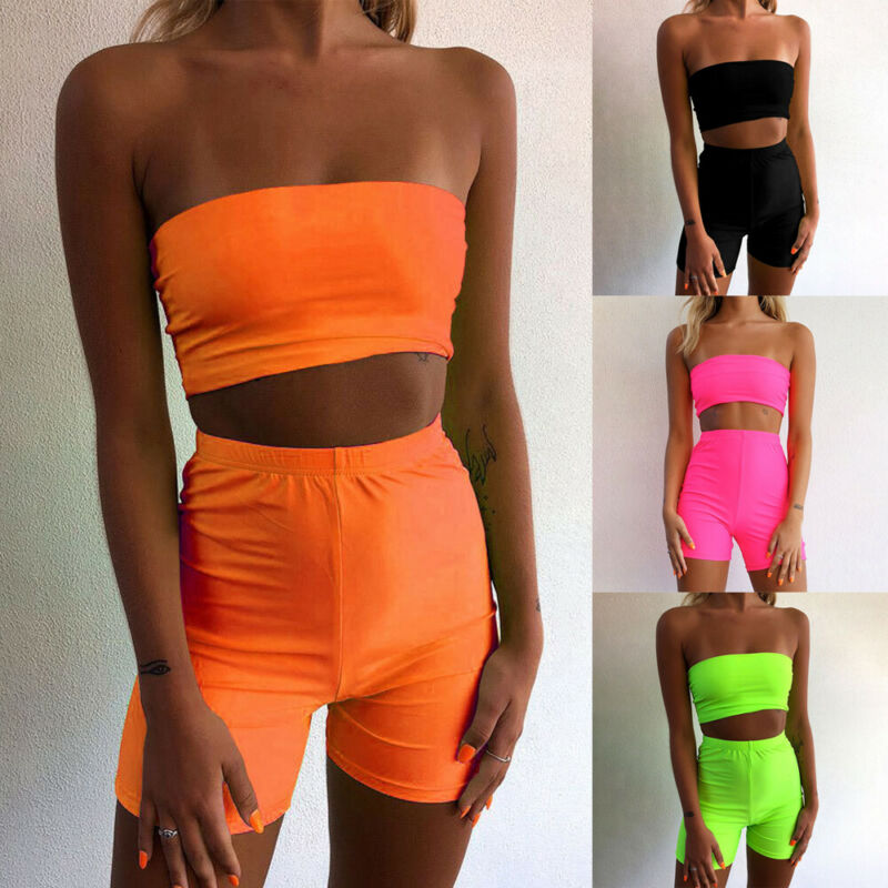 Women Neon Skinny Clothes Set Sexy Solid Female Casual Tracksuit For Women Stretchy Tank Tops Female Gym Fitness Outfits