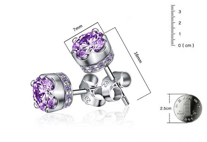 90% OFF! Luxury 100% Original 925 Solid Silver Purple Diamant CZ Stud Earrings For Women Wedding Engagement Gift Fine Earrings