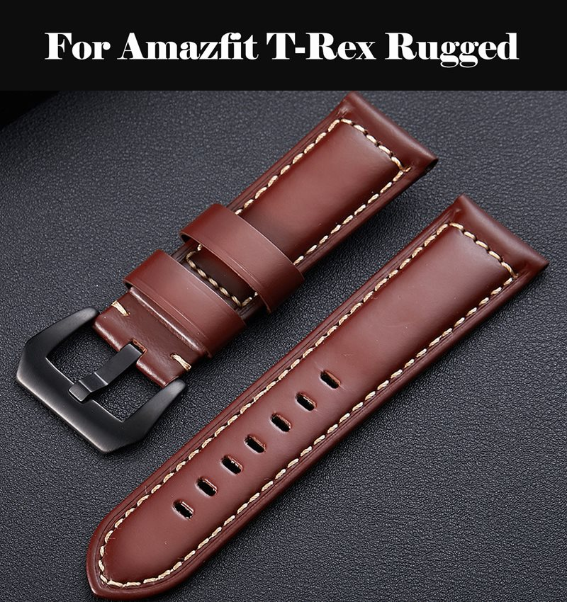 Genuine Leather Watchbands 12-24mm Watch Butterfly Buckle Band Steel Buckle Strap Wrist Belt Bracelet For Amazfit T-Rex Rugged