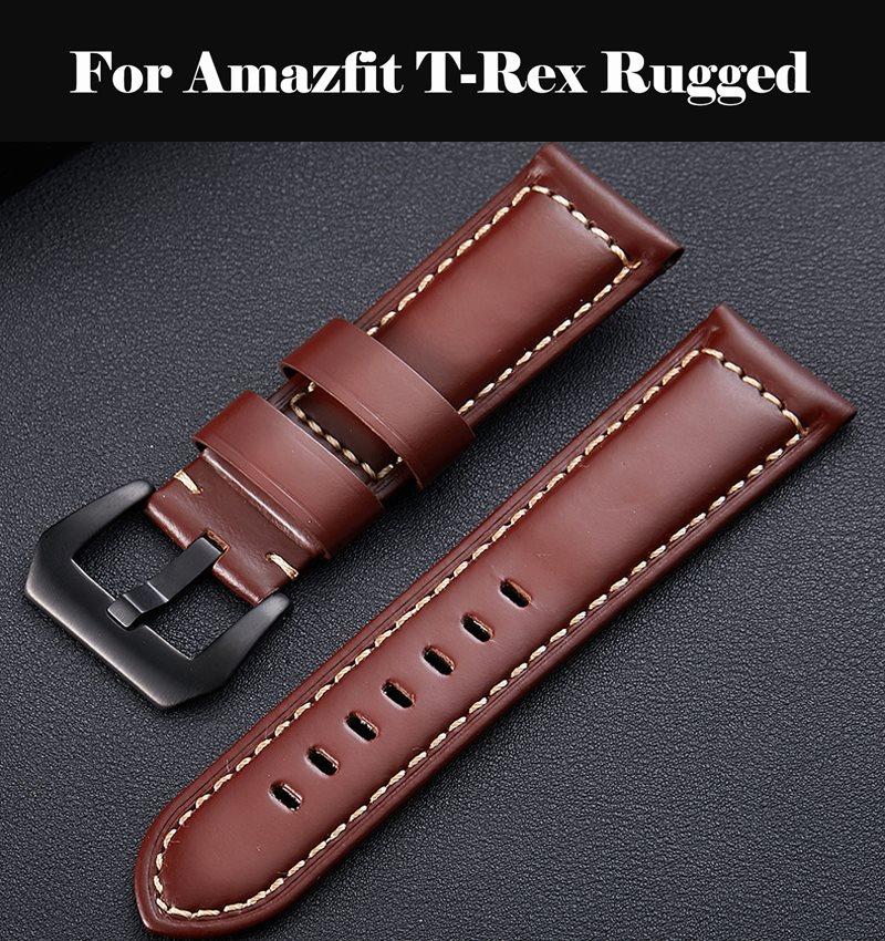 Genuine Leather Watchbands 12-24mm Watch Butterfly Buckle Band Steel Buckle Strap Wrist Belt Bracelet For Amazfit T-Rex Rugged