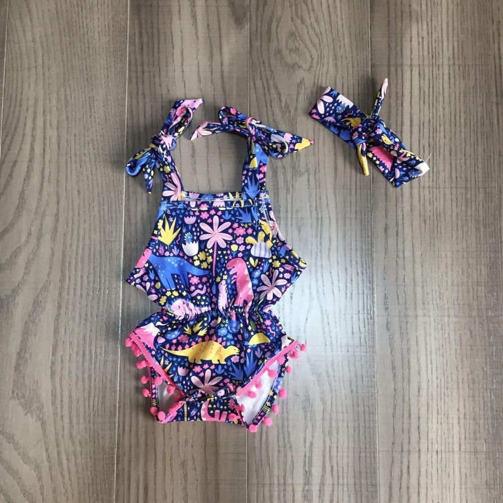 Baby Girls Clothes Girl Summer Romper Baby Kids Toddler Sling Dinosaur Romper With Headband
