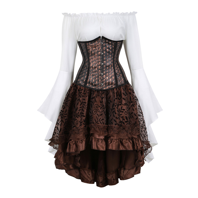 Steampunk Corset with Skirt Three-piece Skull Print Underbust Corset with Rnaissance Blouse and Skirt Women Pirate Costume Plus