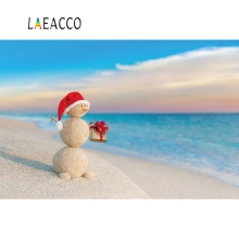Laeacco Photo Backdrops Christmas Snowman Seaside Beach Sand Blue Sky Child Portrait Backgrounds Photocall Studio