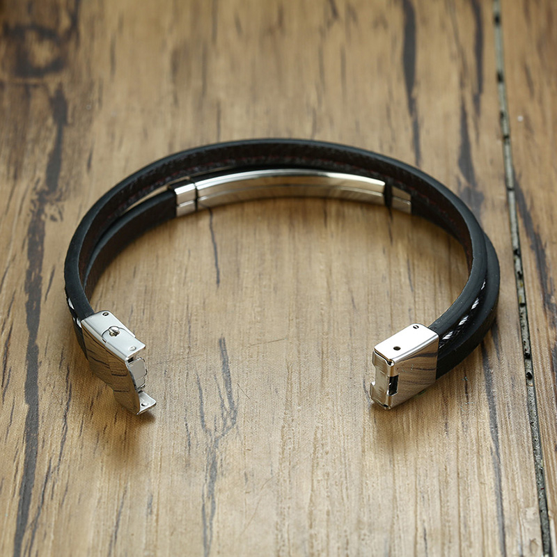 Bracelets en cuir véritable barre en acier 6