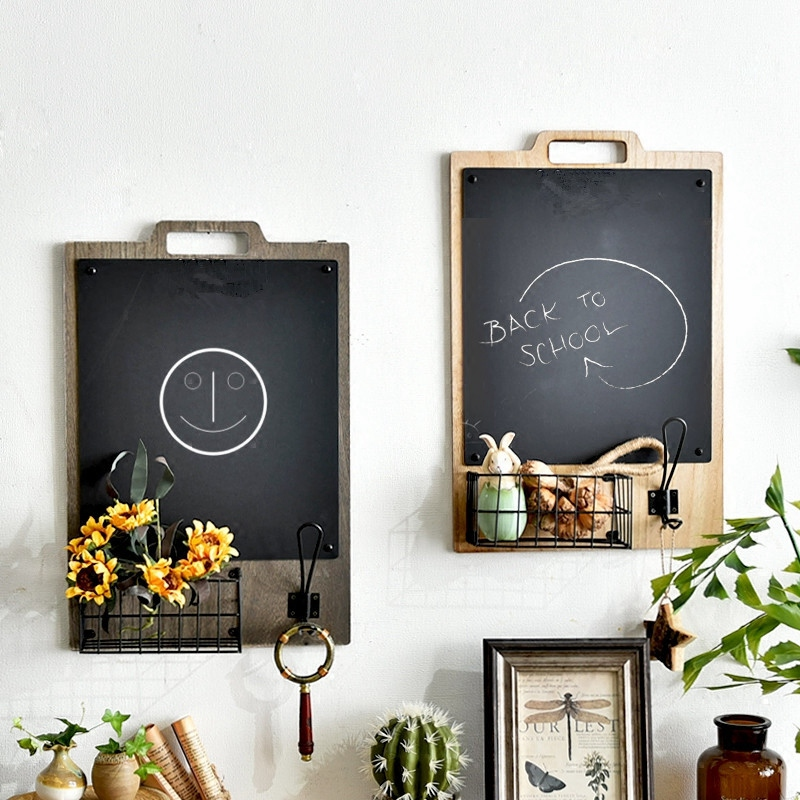 Nordic Wooden Wall Hanging Decoration Shelf With Blackboard Organizer Storage Holder Home Message Board
