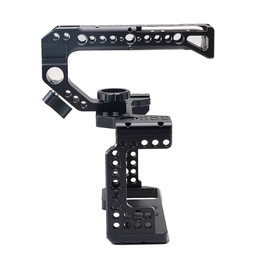 SETTO Metal Camera Cage Rig For Sony A7III A7R3 A7M3 Cold Shoe Mount Arca-Style Quick Release Mount With Top Handle Grip