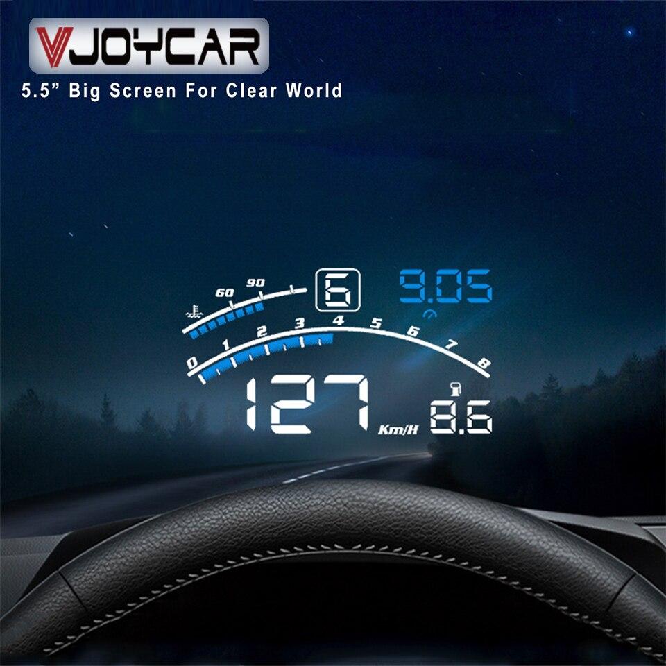 Vjoycar V41 Newest Head Up Display Car OBDII EUOBD 5 5inch Windshield Projector HUD Display Shift Reminder Water Temp  RPM KM H MPH