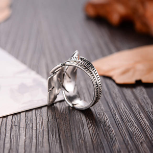 2020 Bijoux Mode Echt 925 Sterling Silber Feder Ringe für Frauen Boho Einstellbare S925 Antike Ringe Anillos joyas de plata