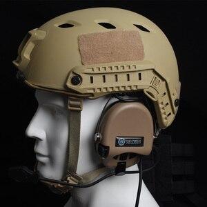 Image 5 - Caccia Auricolare Tattico Cuffia Airsoft Camouflage Militare Standard Auricolare a Cancellazione di Rumore Aviazione Walkie Talkie Casco