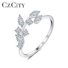 CZCITY корейские 925 пробы серебряные кольца ручной работы с листьями оливы для женщин Изысканный CZ Камень Регулируемое Открытое кольцо серебро 925 ювелирные изделия
