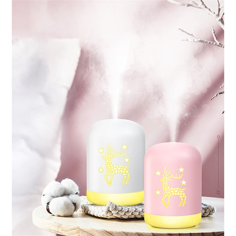 ELOOLE USB Air Humidifier Deer Essential Oil Diffuser Car Air Freshener Purifier Mini Humidification with Night Lights|Humidifiers| |  - title=