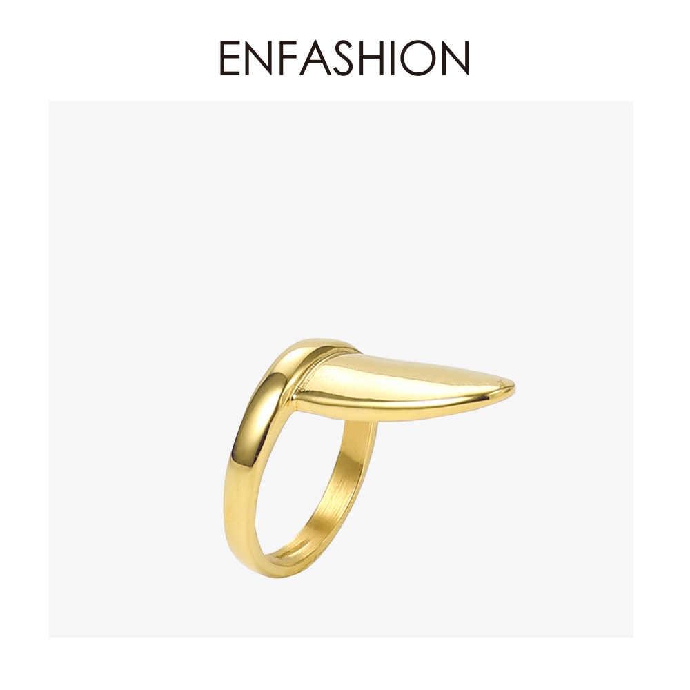 ENFASHION Punk เปล่าเล็บแหวนสแตนเลสแหวนนิ้วมือสำหรับผู้หญิงอุปกรณ์เสริมแฟชั่นเครื่องประดับของขวัญ R194021