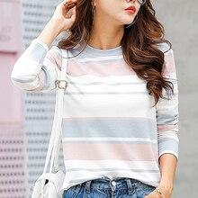 2019 Autumn Female T-shirt Long Sleeve Striped Women Cozy Cotton T Shirt Winter Tops Tees Brand Fashion Camisetas 529C5