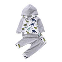Lovable Little Dinosaur Gary Newborn Infant Baby Boy Girl Hooded Tops Pants 2Pcs Outfits Set Clothes