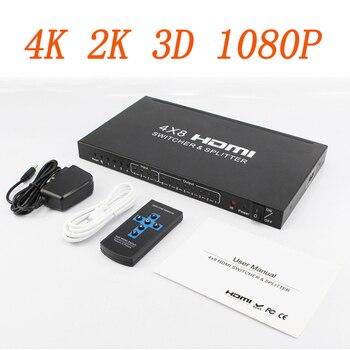цена на HDMI Matrix 4x8 Full HD 4K 2K 3D 1080P HDMI Matrix4 Input 8 Output  HDCP HDMI Switcher Splitter Converter Adapter + Remote