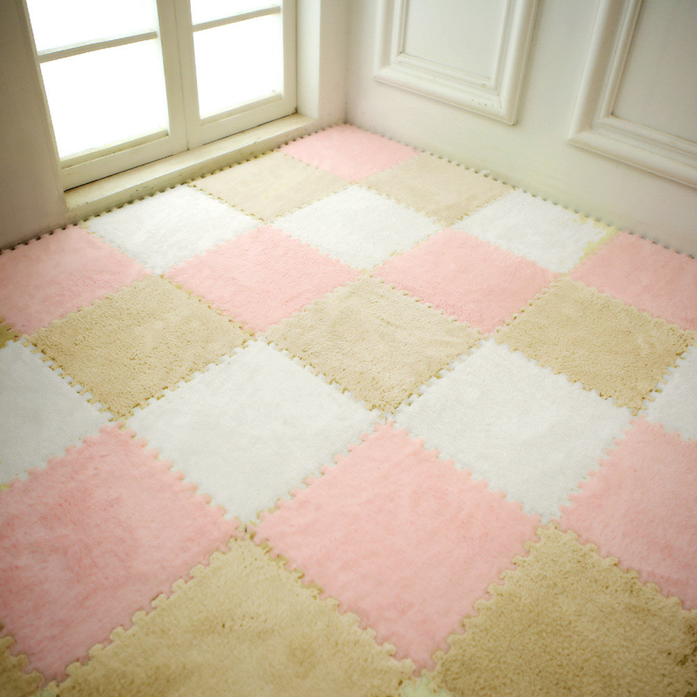 H3a0fd758a6e94d54b95152ef033c3ae0F Play Mats 25X25cm Kids Carpet Foam Puzzle Mat EVA Shaggy Velvet Baby Eco Floor 7 colors 10.30