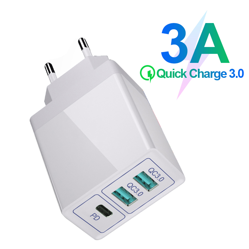 3.0 USB Charger 30W Fast Charge Double Plug Wall For Mobile Phone Quick Charge For ios Andriod 3 Ports Adapter PD QC 3.0  Charge Chargers     - title=