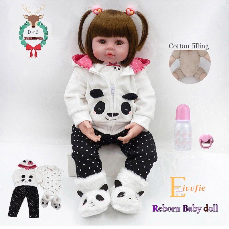 Bebe Reborn poupée 19''soft silicone mignon bébé poupée Boneca garçon femme poupée Brinquedos belle réalité bebe Surprise poupée