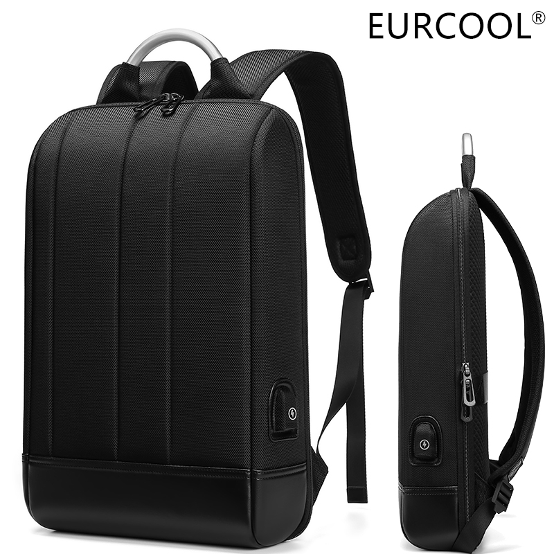 EURCOOL business thin laptop <font><b>backpack</b></font> men's 15.6-inch office work men's <font><b>backpack</b></font> <font><b>unisex</b></font> black slim <font><b>backpack</b></font> super light <font><b>backpack</b></font> image