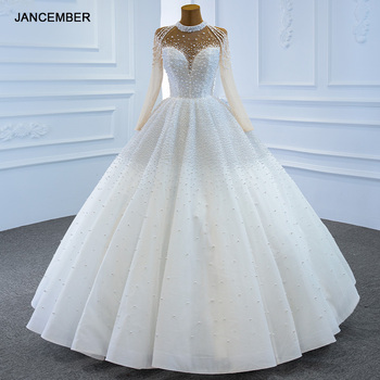 J67198 Jancember blanco De cuello alto De cuerpo completo perlas vestidos para Boda 2020 Traje De Novia vestido De Boda Sur Mesure свитаттитететитетититети 2020