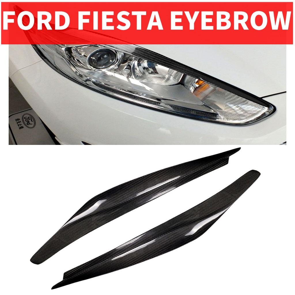 2 pièces voiture style réel en Fiber de carbone phare sourcil paupières pour FORD Ford Fiesta revêtement d'habillage autocollant 2013-2016 accessoires pièces