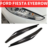 2PCS Car Styling Real Carbon Fiber Headlight Eyebrow Eyelids For FORD Ford Fiesta Trim Cover Sticker 2013 2016 Accessory Parts