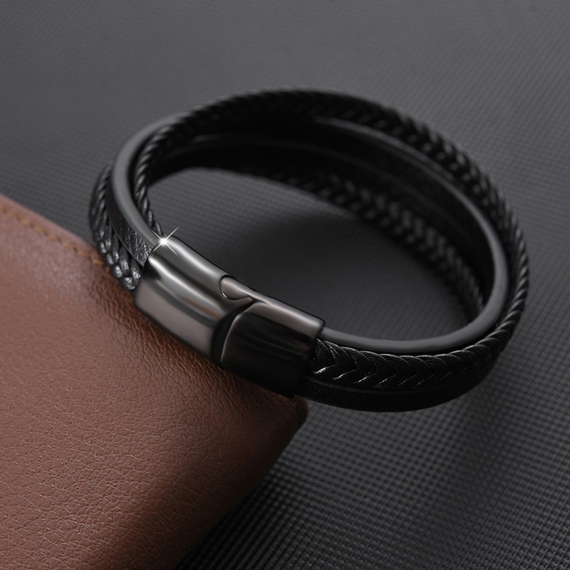 MingAo Fashion Punk Custom Tennis Stainless Steel Chakra Leather Men Name Black Bracelets Charms Initial jewelry For Women